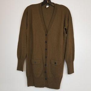J. Crew olive green wool long cardigan sweater